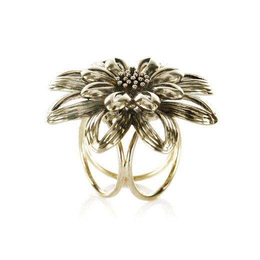 Prsteň na šatku - Kvetinový prstenec - zlatý
