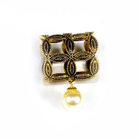 Spona na šatku - Lietajúca perla - zlatá