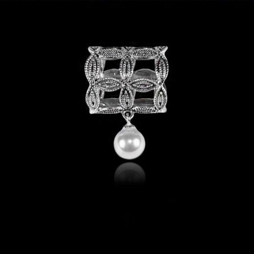 Spona na šatku - Lietajúca perla - strieborná