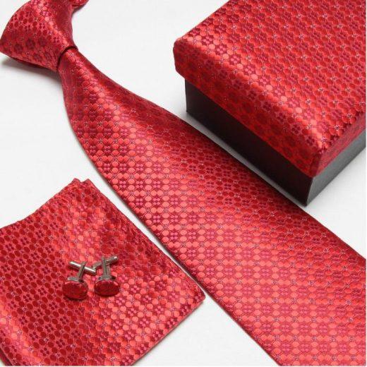 Luxusný kravatový set v červenej farbe - WWW.LUXUSNE-DOPLNKY.EU