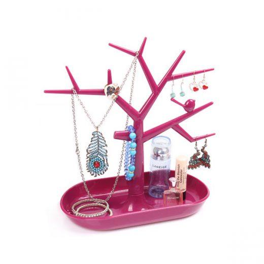 Stojan na šperky v tvare plastového stromu - ružový