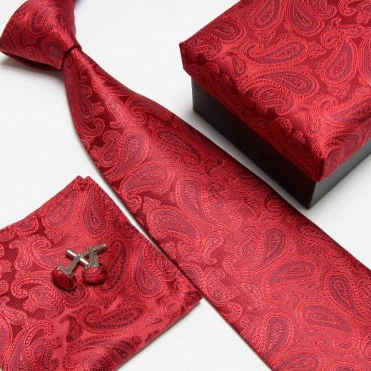 Luxusný kravatový set s červeným kvetinovým vzorom