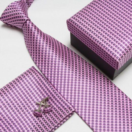 Luxusný kravatový set s fialovým prešívaným vzorom