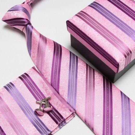 Luxusný kravatový set s fialovo-ružovým pásikavým motívom