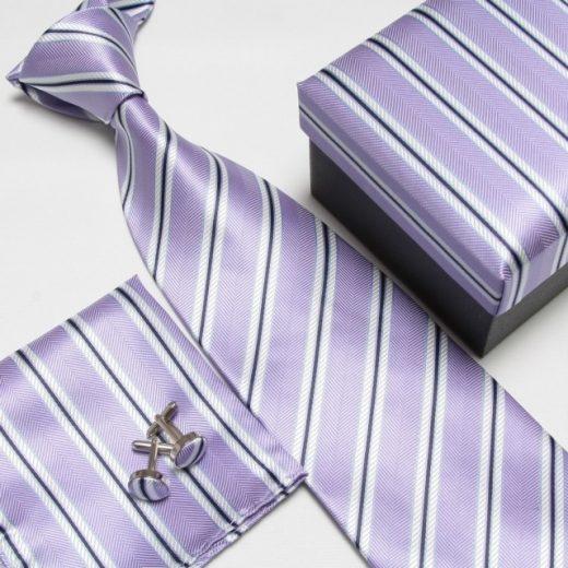 Luxusný kravatový set s pásikavým fialovým motívom