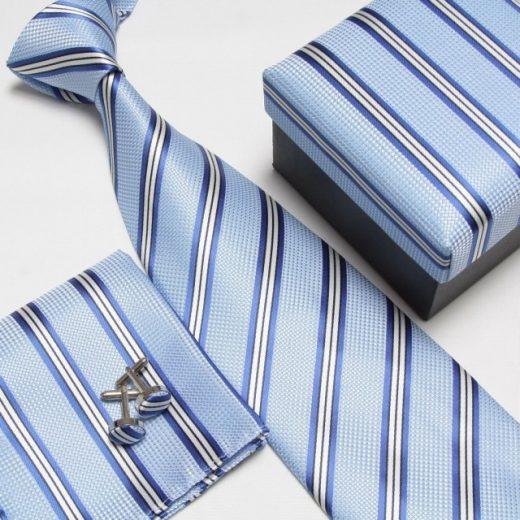 Luxusný kravatový set s pásikavým modrým vzorom