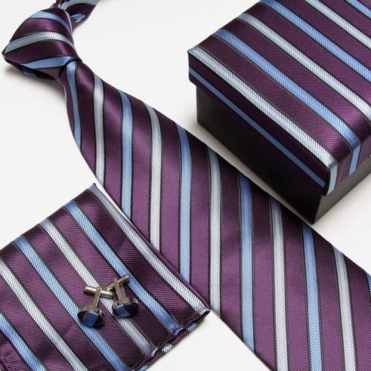 Luxusný kravatový set s pásikavým modro-fialovým vzorom