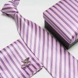 Luxusný kravatový set s pásikavým ružovo-modrým vzorom
