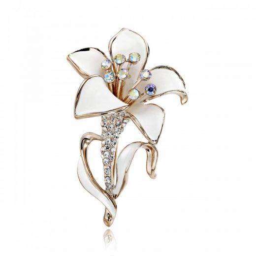 Luxusná pozlátená brošňa v tvare bieleho kvetu