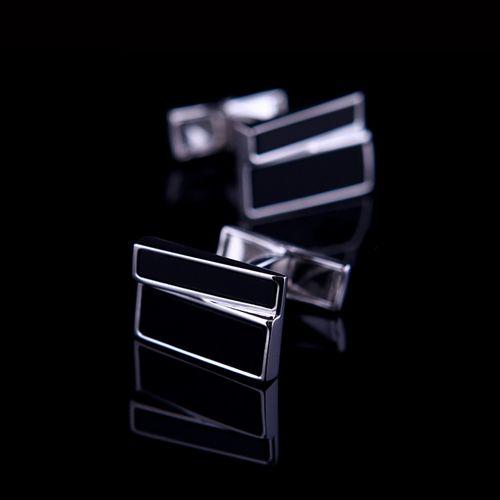 Luxusné manžetové gombíky s čiernymi kryštálmi v elegantnom vzhľade (2)