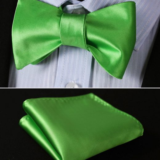 Elegantný hodvábny set - motýlik a vreckovka, v svetlo-zelenej farbe