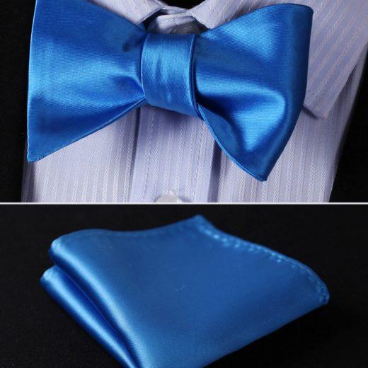 Elegantný hodvábny set - motýlik a vreckovka, v modrej farbe