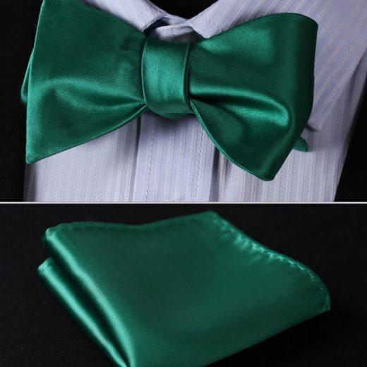 Elegantný hodvábny set - motýlik a vreckovka, v zelenej farbe