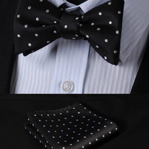 Luxusný hodvábny set - motýlik a vreckovka v čiernej farbe s bodkami