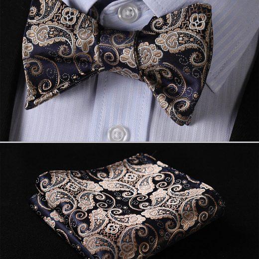 Luxusný hodvábny set - motýlik a vreckovka s elegantným vzorom