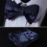 Elegantný hodvábny set - motýlik a vreckovka v odtieňoch modrej farby