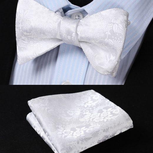 Luxusný hodvábny set - motýlik a vreckovka s kvetinovým vzorom v bielej farbe