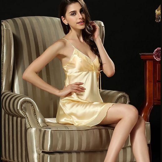 Luxusná dámska nočná košeľa zo 100% hodvábu v žltej farbe