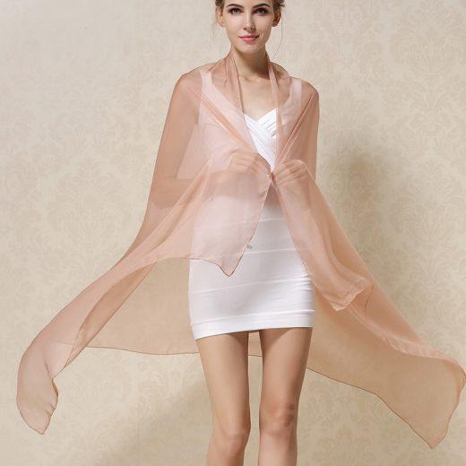 Elegantný veľký dámsky hodvábny šál v svetlo hnedej farbe