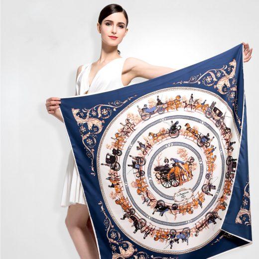 Elegantná hodvábna šatka s motívom Paríž 100 x 100 cm