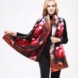 Kvalitný ručne tkaný kašmírový šál s motívom kvetov model 01