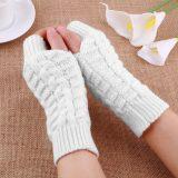 Dámske pletené bavlnené rukavice bez prstov