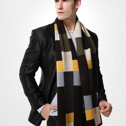 Elegantný pánsky šál z vlny a bavlny - Vzor 05