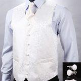 Kvalitná hodvábna pánska vesta + vreckovka, kravata a gombíky - snehovo biela